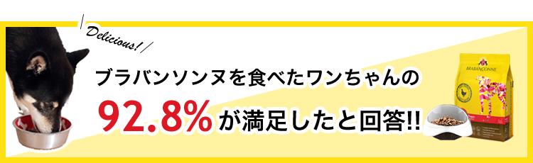 ブラバンソンヌを食べたワンちゃんネコちゃんの92.8%が満足したと回答!