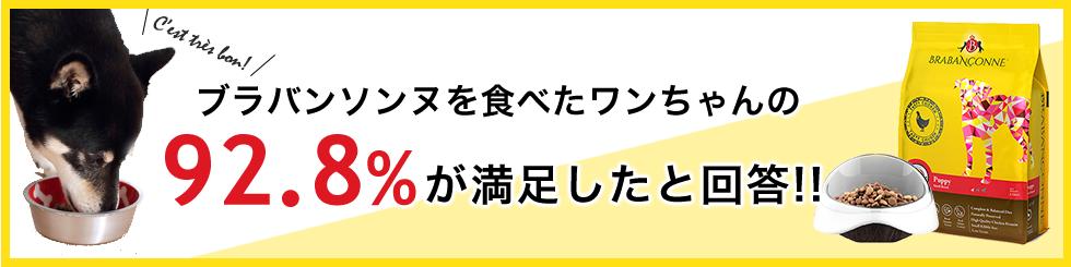 ブラバンソンヌを食べた92.8%のペットが満足したと回答